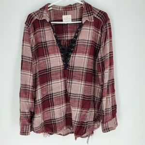 American Eagle distressed flannel lace up oversize